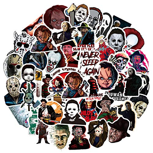 Horror Movie Killer Stickers 50PCS Waterproof Vinyl Stickers for Water Bottle Skateboard Laptop Guitar Car Motorcycle Graffiti Patches for Teens