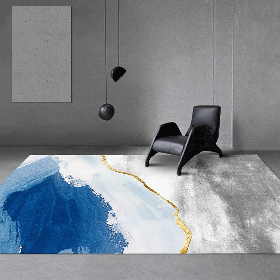 Blue Gray Rugs Modern Abstract Room Living Contemp for 2021new shipping free Over item handling Area