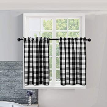 Amazon Com Farmhouse Kitchen Window Tiers Buffalo Check Small Short Bathroom Curtain Cotton Blended Plaid Gingham Kitchen Cafe Curtains 54 X 36 Inches Black White Furniture Decor