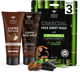 Bombay Shaving Company 3 Step Face Cleansing Combo for Men & Women |Coffee Scrub 100g, Coffee Face Wash 100g & Charcoal Sh...