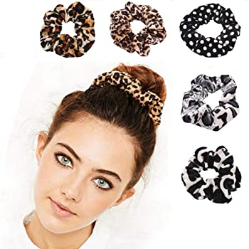 5 Pcs Cheetah Scrunchie Hair Scrunchies Velvet Elastic Hair Bands Scrunchy Bobbles Soft Hair Ties Ropes Scrunchie for Women or Girls Hair Accessories - 5 Leopard Assorted Color Scrunchies(A)