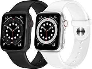 OUHENG 2 Pack Sport Band Compatible with Apple Watch Band 41mm 40mm 38mm 45mm 44mm 42mm, Soft Silicone Band Replacement Strap for iWatch Series 7/6/5/4/3/2/1 SE (Black/White, 41mm 40mm 38mm)