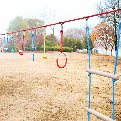 Review Perantlb Portable Ninja Slackline Monkey Bar & Ladder Intro Kit – 40'Kids Gym Swinging Ob...