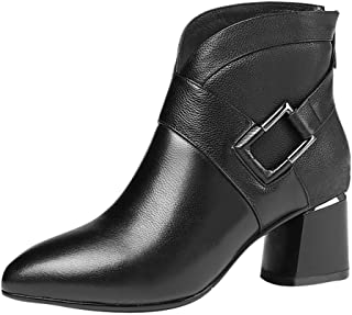 Aunimeifly Ladies Office Wild Profession Ankle Boots Women Zipper Solid Booties Metal Decoraction High Heel Shoes