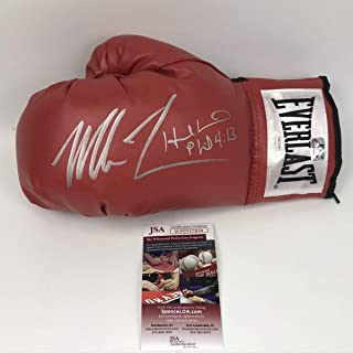 Autographed/Signed Mike Tyson & Evander Holyfield Red Everlast Boxing Glove JSA COA