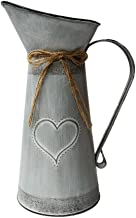 SHDAO French Country Rustic Primitive Jug Vase Pitcher Vase Galvanized Milk Can With Heart-Shaped for Home Office Cafe Decor -10.5 inch