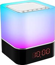 Wekker Nachtlamp en Speaker, Multifunctioneel LED Bedlampje Nachtlampje, Bluetooth-luidspreker met Moodlight, 7 Helderhei...