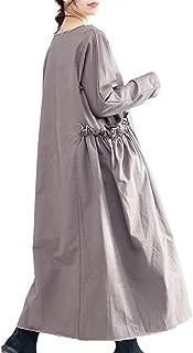 Women Casual Loose Plus Size Long Dress Maxi Large Skirt Long Sleeve Unique Pocket QL4