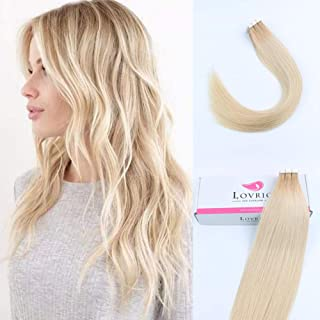 "Lvrio 22"" 20pcs 50g Tape in Hair Extensions Roots Color Platinum Ash Blonde Fading to Dark Dirty Blonde R12-60 Prime Silky Straight Skin Weft"