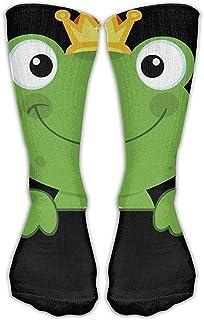remmber me, Calcetines clásicos para hombres y mujeres Cute Animal Rana verde con corona Medias atléticas Calcetín largo Talla única