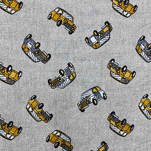 Kt KILOtela Tela de loneta Estampada - Retal de 300 cm Largo x 280 cm Ancho   Coches, Mini - Naranja, Beige ─ 3 Metros