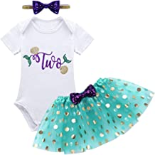 ACSUSS Baby Girls 2nd Birthday Party Outfits Short Sleeves Romper with Glittery Polka Dots Tutu Skirt Headband