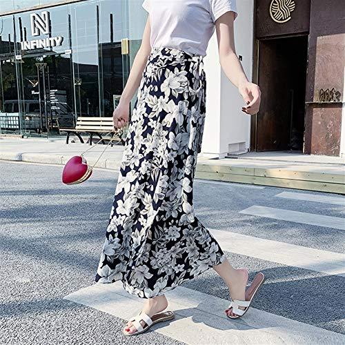 Verstelbare rok Zomer uit een stuk Rok Bandage Damesmode Onregelmatige Chiffon Floral rok en lange stukken Lace Up Elegant High Waist wikkelrok hjm qunzi (Color : H)