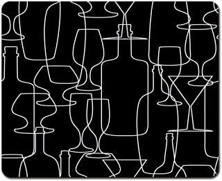 """Onete Mouse Pads Black Glass Abstract with Wine Bottles and Glasses Colorful Alcohol Mouse Pad 9.5"""" x 7.9"""" for Notebooks,Desktop Computers Mouse Mats, Office Supplies"""