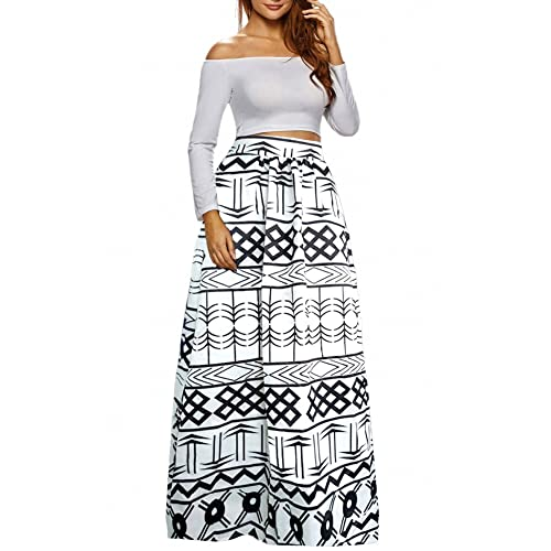 Afibi Women African Printed Casual Maxi Skirt Flared Skirt Multisize A Line  Skirt (S- 7aaaba8e302