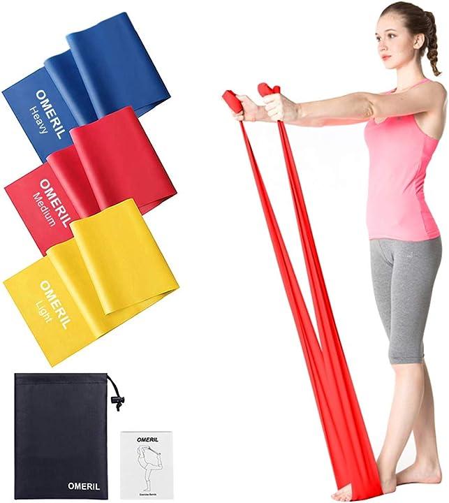 Bande elastiche fitness (3 pezzi), 2 m/ 1,5 m fasce elastiche con 3 livelli di resistenza PB901