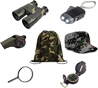 Kids Outdoor Backyard Exploration kit (7 Pieces) Explorer Adventure,Camping,Hiking, Pre-School Educational Toys/Gift Set – Backpack, Magnifying Glass, Flashlight,Compass,Binoculars,Military Style hat