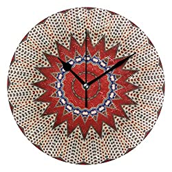 Puloa Tribal Southwest Santa Fe Pattern Red 9.8 Inch Round Wall Clock Silent Fashion Design Night Lights for Living Room and Bedroom Office School