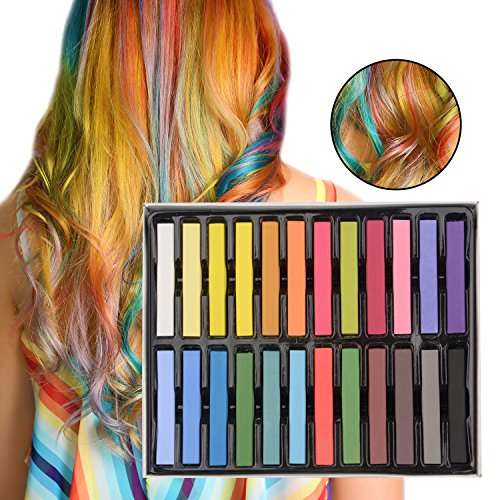 Hair Chalk for Girls, 24 Colorful Temporary Hair Color Wax for Kids, Christmas Birthday Gifts Present for 4 5 6 7 8 9 10 Years Old Girls and Up