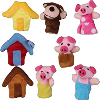 NUOBESTY 8pcs Finger Puppets Set Soft Hands Figures Toy Plush Animal Dolls for Kids Animals Playset Story Time Educational...