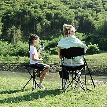 EVER ADVANCED Tabouret Camping Pliant Portable Pêche Randonnée Voyage Chaise d'Extérieur Légère Charge 100KG Noire