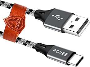 AGVEE 3A Fast USB-C Charger Cable [4 Pack 1ft 3ft 6ft 6ft] Seamless USBC Tip, Braided Type-C Charging Cord for Samsung Galaxy S10 S9 S 8 Note 9 8, A10e A20 A20e, Pixel 3 3XL, LG V20 V30, Gray