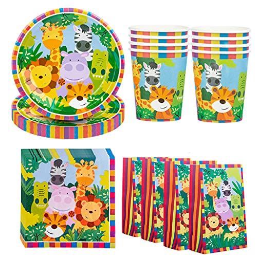 Amycute Tema Animali della Giungla Compleanno Kit, Piatti, Bicchieri, Tovaglioli, Sacchetti Regalo, Bambini Festa di Compleanno