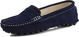Casual Women's Suede Leather Driving Moccasins Slip-On Penny Loafers Boat Shoes Flats