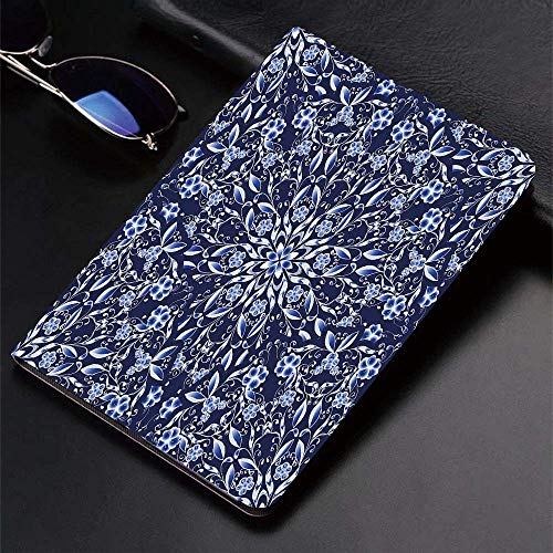 Case for iPad (9.7-Inch, 2018/2017 Model, 6th/5th Generation)Ultra Slim Lightweight Smart Cover,Dark Blue,Chinese Painting Style Artwork Traditional Floral Interlace Print,Smart Covers Auto Wake/Sleep