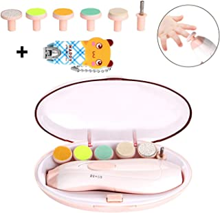 WADEO Baby Nail File, Electric Nail Trimmer Manicure Set with Nail Clippers, Toes Fingernails Care Trim for Infant Toddler Kids or Women, 6 Repalcement Grinding Heads, Pink