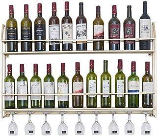 LDM Estante Flotante para Botellas de Vino y Estante de Vidrio con diseños 2 en 1 (montado en la Pared) Soporte de Metal ...