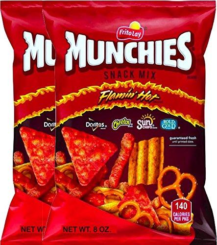NEW Munchies Flaming' Hot Snack Mix Doritos, Cheetos, Sun Chips, Rold Gold Net Wt 8 Oz. (2)