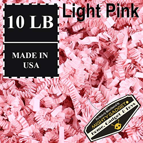 Mighty Gadget Brand 10 LB Value Pack Crinkle Cut Paper Shred Filler for Packing and Filling Gift Baskets, Gift Boxes Natural Craft Bedding in Light Pink (10 LB)