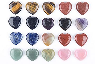 JIC Gem 20 pcs Mixed Crystal Heart Stone Heart Chakra 30mm Reiki Balancing Hand Carved Polished Palm Worry Stone Chakra Jewelry Making and Collection