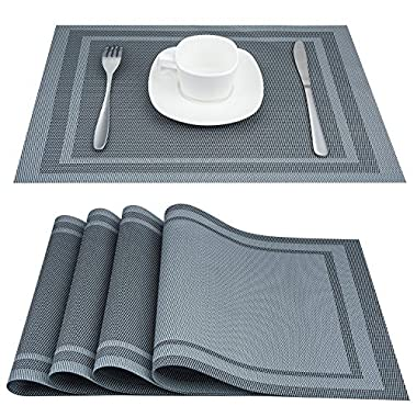 Placemats, ARTAND Heat-resistant Placemats Stain Resistant Anti-skid Washable PVC Table Mats Woven Vinyl Placemats, Set of 4 (Silver Gray)