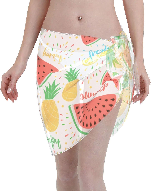 Jeezhub Summer Fruit Watermelon Pineapple Orange Women Short Sarongs Beach Wrap Sheer Bikini Wraps Chiffon Cover Ups for Swimwear