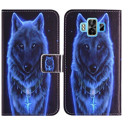 TienJueShi Wolf Flip Book-Style Brief Leder Tasche Schutz Hulle Handy Hülle Abdeckung Fall Wallet Cover Etui Skin Fur M-Horse Pure 1 5.7 inch