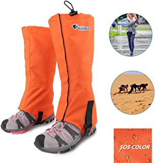 Auflyee Hiking Gaiters, Breathable Oxford Fabric Waterproof Leg Gaiters for Walking Hunting Climbing