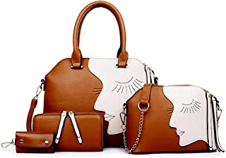 Women's Big Eyes Pattern PU Leather Four Pieces Set Shoulder Bags Tassel Messenger Bags EHB404