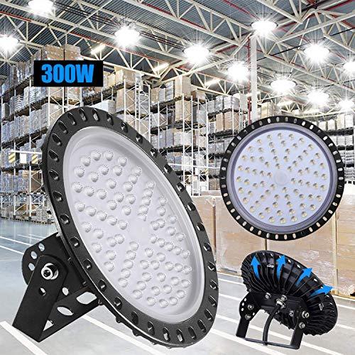 300W LED UFO Industrielampe,Xgody 5000LM LED Hallenstrahler,Ultra Slim High Bay Licht mit Kaltweiß 6000-6500K,IP65 Hallenleuchte Industrial Kronleuchter Werkstattbeleuchtung für Fabrikhallen