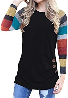 UOKNICE Womens Blouses, Winter Long Sleeve Casual Fashion Ladies Soft Color Block Button Tunic T-Shirt Pullovers Tops
