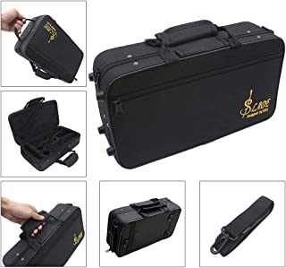 Volwco Clarinet Case Bag,Water-Resistant Oxford Cloth Carrying Bag for Bb Clarinet Oboe with Adjustable Shoulder Strap Soft Cotton Padded,Black
