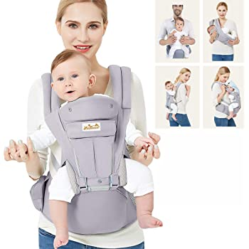 Viedouce Baby Carrier Ergonomic with Hip Seat/Pure Cotton Lightweight and Breathable/Multiposition:Dorsal, Ventral, Adjustable for Newborn and Toddler 3 to 48 Month (3.5 to 20 kg)