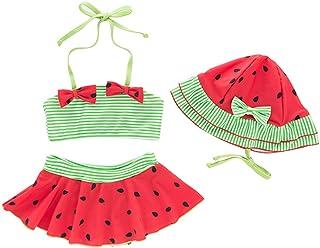 WINZIK Baby Girls Swimsuit 3Pcs Pineapple Strawberry Watermelon Halter Swimwear Toddler Kids Bikini Bathing Suit Beachwear