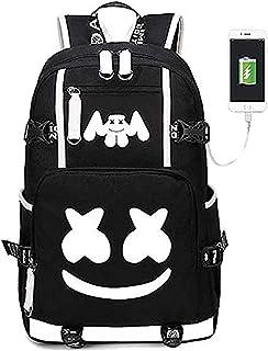 Mochila Luminosa USAMYNA para Adolescentes Mochila Escolar Marshmello 36L-55L Mochila USB Externa y Soporte para Auriculares Bolsa De Viaje para Computadora Portátil (Demonio)