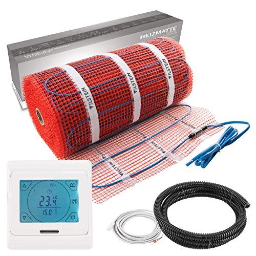 VILSTEIN© Elektrische Fußbodenheizung (12m² - 24m lang / 0,5m breit) Elektro Fußboden-Heizmatte 150W/m² für Fliesen-boden Fußboden-Heizsystem Elektrisch inkl. Thermostat TWIN Technologie Komplett-Set