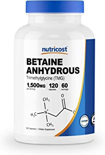 Nutricost Betaine Anhydrous Capsules 1500mg, 60 Servings - Gluten Free, Non-GMO, 750mg Per Cap, 120 Capsules
