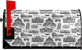 """NCXIAO Magnetic Mailbox Cover - 21""""W x 25.5""""H, Monochrome Sketch Style Famous Places from Italy Rome Milano European Architecture,Mailbox Wraps Post Letter Box Cover"""