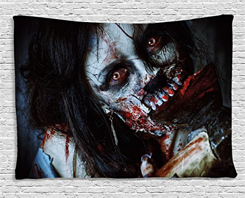 Ambesonne Zombie Tapestry, Scary Dead Woman with a Bloody Tool Evil Fantasy Gothic Mystery Halloween Picture, Wide Wall Hanging for Bedroom Living Room Dorm, 80' X 60', Grey Red