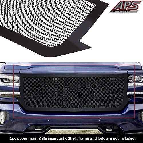 APS Premium Stainless Steel Black Mesh Grille Compatible with 2016-2018 Chevy Silverado 1500 & 19 Silverado 1500 LD Main Upper N19-H57367C